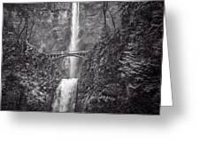 The Bridge At Multnomah Falls In Black And White Greeting Card