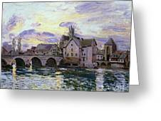 The Bridge Of Moret At Sunset Greeting Card