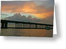 The Bridge To Galveston Greeting Card by Robert Anschutz