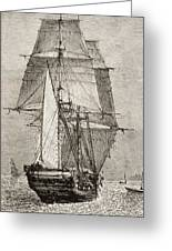 The Brig Hms Beagle From Journal Of Greeting Card