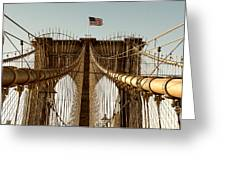 The Brooklyn Bridge Flag Greeting Card
