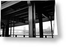 The Brooklyng Bridge And Manhattan Bridge From Fdr Drive Greeting Card