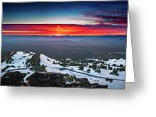 The Burning Clouds At Crater Lake Greeting Card