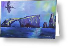 The California Brown Pelican And Acacapa Island Arch Rock Greeting Card