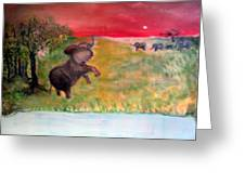 The Calling - Elephants On The Serengeti Greeting Card