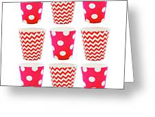 the Card with Red paper disposable glass in polka dot and zigzag isolated on white with copy space Greeting Card