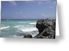 The Caribbean Sea Is Seen From A Rocky Greeting Card