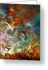 The Carina Nebula Panel Number Three Out Of A Huge Three Panel Set Greeting Card