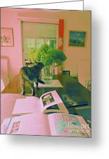 The Cat And The Hydrangea Greeting Card