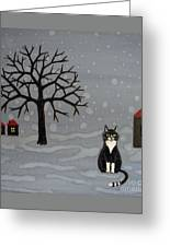 The Cat Is Waiting  Greeting Card