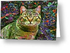 The Cat Who Loved Flowers 1 Greeting Card
