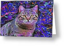 The Cat Who Loved Flowers 3 Greeting Card