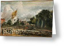 The Celebration In East Bergholt Of The Peace Of 1814 Concluded In Paris  Greeting Card