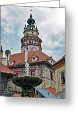 The Cesky Krumlov Castle Tower With A Fountain Below Within The Czech Republic Greeting Card
