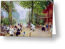 The Chalet Du Cycle In The Bois De Boulogne Greeting Card by Jean Beraud