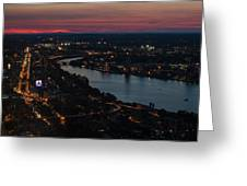 The Charles River Runs Through Boston At Sunset Boston, Ma Greeting Card