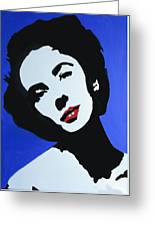 The Charming Lady In Black And White With Red Lips Greeting Card