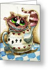 The Cheshire Cat - In A Teapot Greeting Card