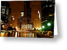 The Chicago River At Night Greeting Card