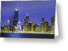 The Chicago Skyline Night-panoramic-001 Greeting Card