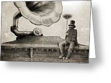 The Chimney Sweep Monochrome Greeting Card by Eric Fan