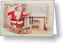 The Christmas Spirit Vintage Card Santa Next To Fireplace Greeting Card