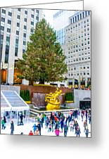 The Christmas Tree At Rockefeller Center New York City Greeting Card