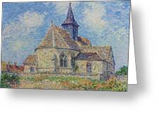 The Church At Porte-joie On The Eure By Gustave Loiseau Greeting Card