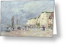 The Cliffs At Dieppe And The Petit Paris Greeting Card by Eugene Louis Boudin