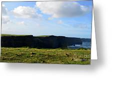 The Cliff's Of Moher In Ireland With Beautiful Skies Greeting Card
