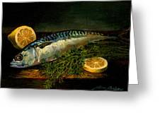 The Cold Water Mackerel With Dill  Lemon. Greeting Card