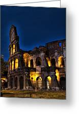 The Coleseum In Rome At Night Greeting Card by David Smith