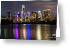 The Colorful Neon Lights On The Austin Skyline Shine Bright Greeting Card