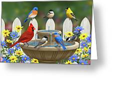 The Colors Of Spring - Bird Fountain In Flower Garden Greeting Card by Crista Forest