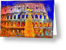 The Colosseum And Christmas  - Van Gogh Style -  - Da Greeting Card