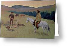 The Conversation Greeting Card by Frederic Remington