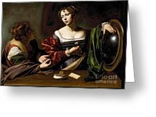 The Conversion Of The Magdalene Greeting Card by Michelangelo Merisi da Caravaggio