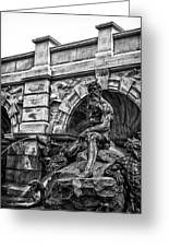 The Court Of Neptune Fountain In Black And White Greeting Card