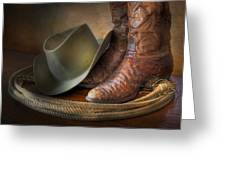 The Cowboy Boots, Hat And Lasso Greeting Card