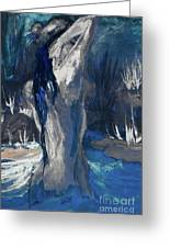 The Creekside Bath Of Alice In Royal Blue Greeting Card