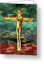 The Crucific Pop Art By Mary Bassett Greeting Card