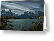 The Cuernos And Lake Pehoe #3 - Chile Greeting Card
