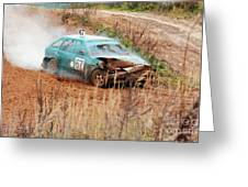 The Damaged Car In A Smoke Greeting Card