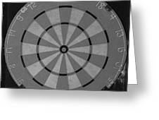 The Dart Board In Black And White Greeting Card