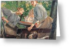 The Daughters Of The Artist In The Garden Greeting Card