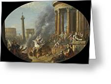 The Death Leap Of Marcus Curtius Greeting Card