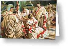 The Death Of Julius Caesar Greeting Card by C L Doughty