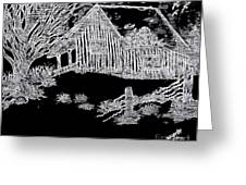 The Deserted Cabin At Night Greeting Card
