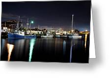 The Docks At Night Greeting Card