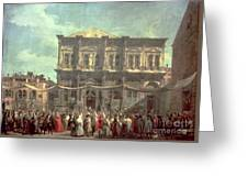 The Doge Visiting The Church And Scuola Di San Rocco Greeting Card